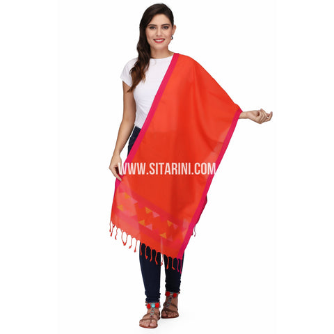 Jamdani Dupatta -Cotton-Orange-Sitarini-LWTCD134