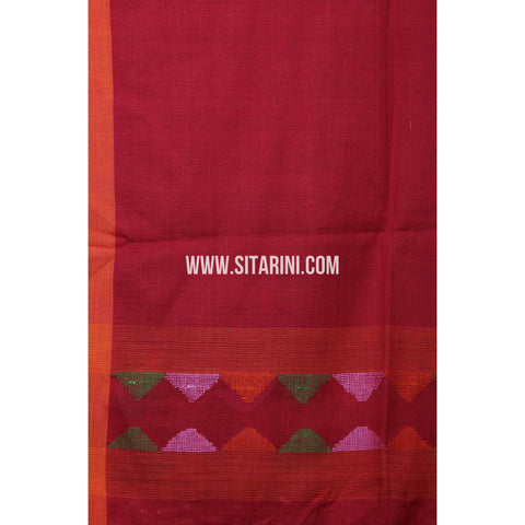 Jamdani Dupatta -Cotton-Red-Sitarini-LWTCD133