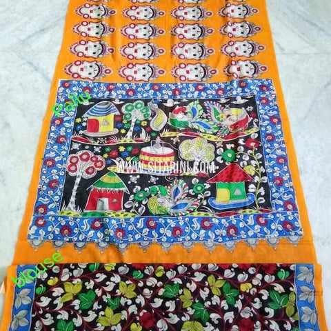 Kalamkari Cotton Saree-Multicolor-Sitarini-SITKACS133