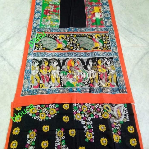 Kalamkari Cotton Saree-Multicolor-Sitarini-SITKACS135