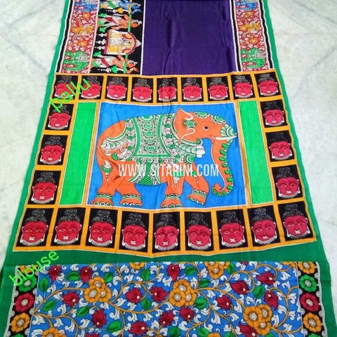 Kalamkari Cotton Saree-Multicolor-Sitarini-SITKACS136