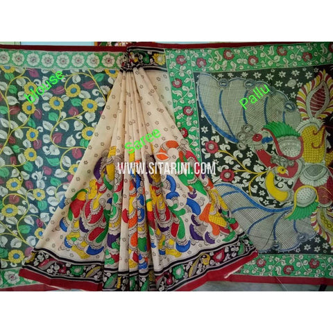 Kalamkari Saree-Hand Painting-Mull Cotton-Multicolor-KKUKCS130