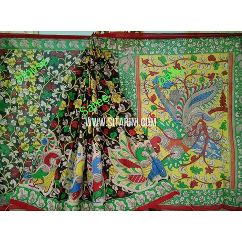 Kalamkari Saree-Hand Painting-Mull Cotton-Multicolor-KKUKCS131