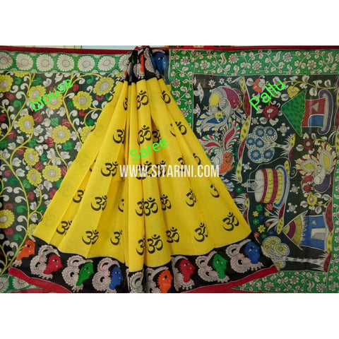 Kalamkari Saree-Hand Painting-Mull Cotton-Multicolor-KKUKCS134