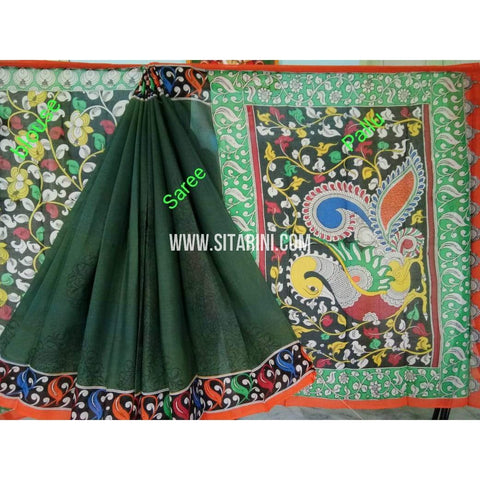 Kalamkari Saree-Hand Painting-Mull Cotton-Multicolor-KKUKCS137