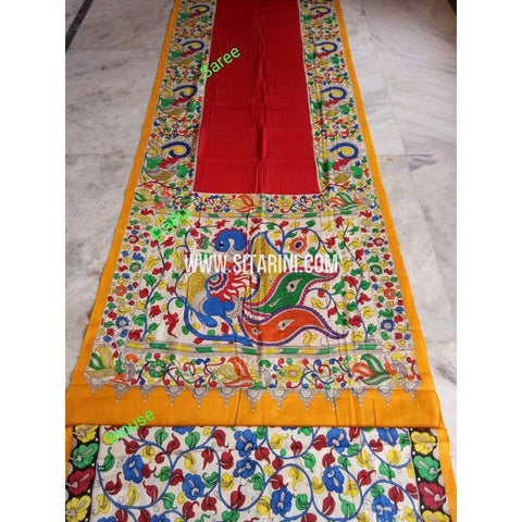 Kalamkari Saree-Hand Painting-Mull Cotton-Multicolor-KKUKCS138