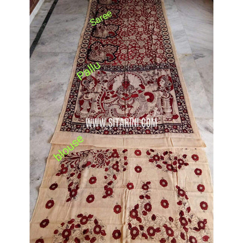 Kalamkari Saree-Mull Cotton-Black and Red-Sitarini-KKUKCS116