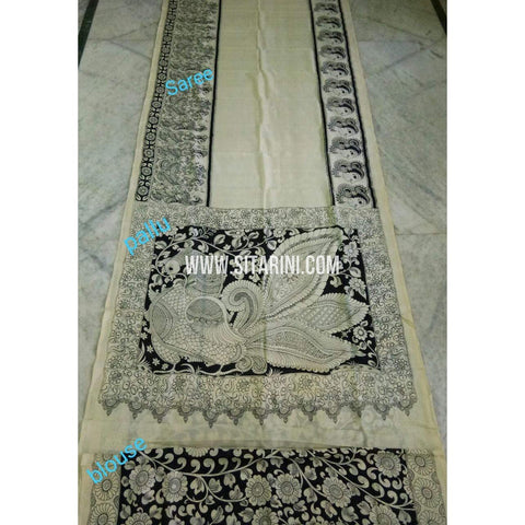 Kalamkari Saree-Silk-Black and White-Sitarini-SITKASS127