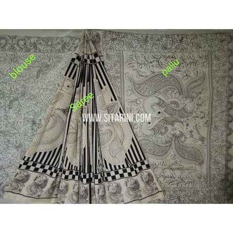 Kalamkari Saree-Silk-Black and White-Sitarini-SITKASS128