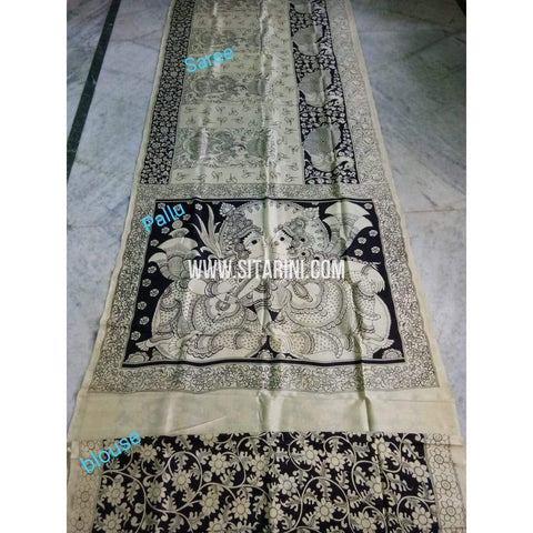 Kalamkari Saree-Silk-Black and White-Sitarini-SITKASS133