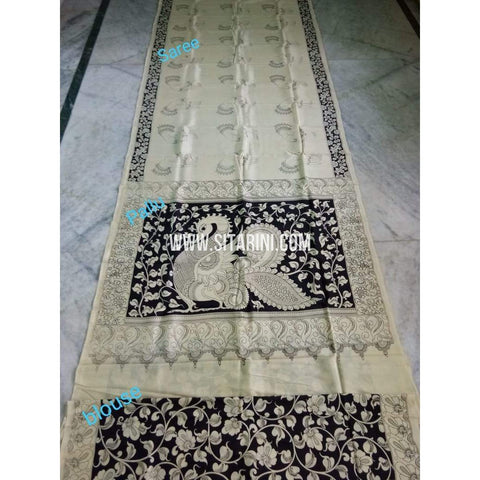 Kalamkari Saree-Silk-Black and White-Sitarini-SITKASS134
