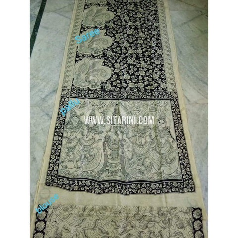 Kalamkari Saree-Silk-Black and White-Sitarini-SITKASS135