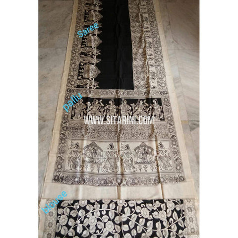 Kalamkari Saree-Silk-Black and White-Sitarini-SITKASS137