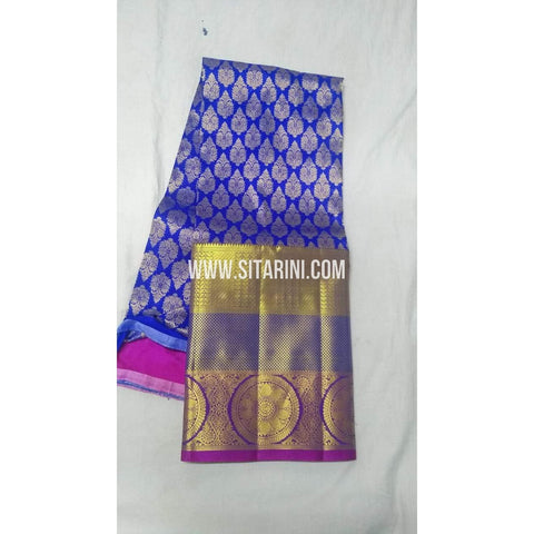 Kanchi Pattu Lehenga-Blue and Pink-Sitarini-SITEDL102