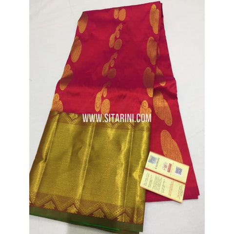 Kanchi Pattu Lehenga-Red and Green-Sitarini-SITEDL115