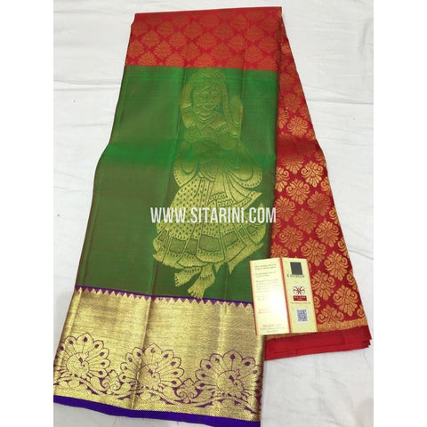 Kanchi Pattu Lehenga-Red and Green-Sitarini-SITEDL126