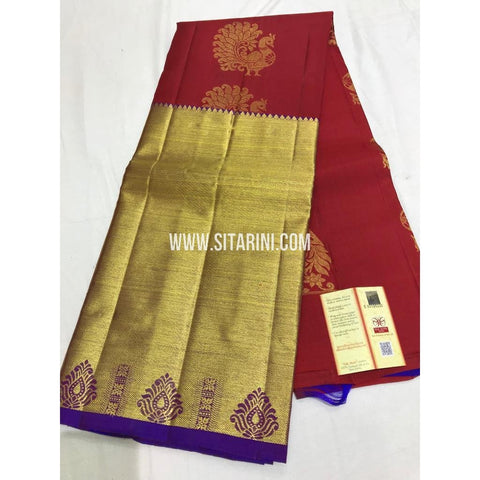 Kanchi Pattu Lehenga-Red and Purple-Sitarini-SITEDL120