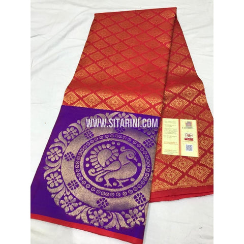 Kanchi Pattu Lehenga-Red and Purple-Sitarini-SITEDL122