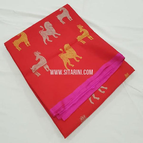 Kanchi Soft Silk Saree-Red-Sitarini-SITKSOSS169