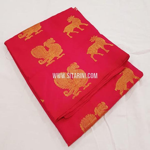 Kanchi Soft Silk Saree-Red-Sitarini-SITKSOSS170