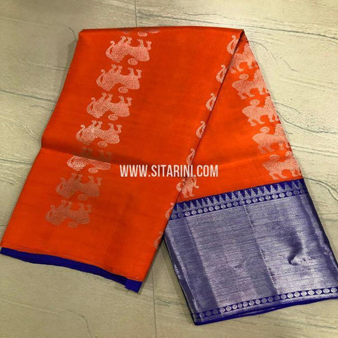 Kanchipuram Lehenga-Pattu-Orange-Sitarini-SITEDL160