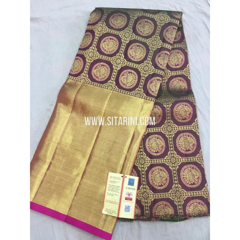 Kanchipuram Pattu Pavadai-Plum and Gold-DKHKPL134
