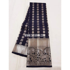 Kanchipuram Pattu Saree-Black-Sitarini-SITKSS168
