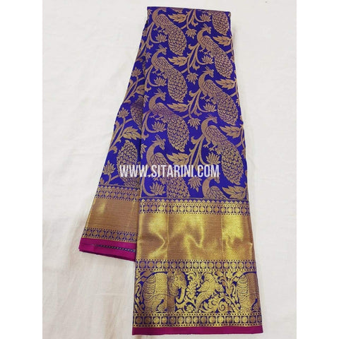 Kanchipuram Pattu Saree-Blue-Sitarini-SITKSS157