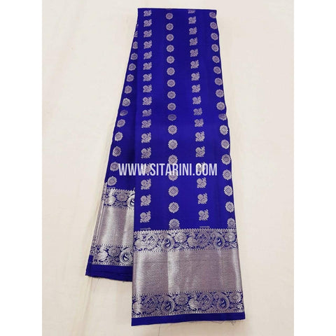 Kanchipuram Pattu Saree-Blue-Sitarini-SITKSS159