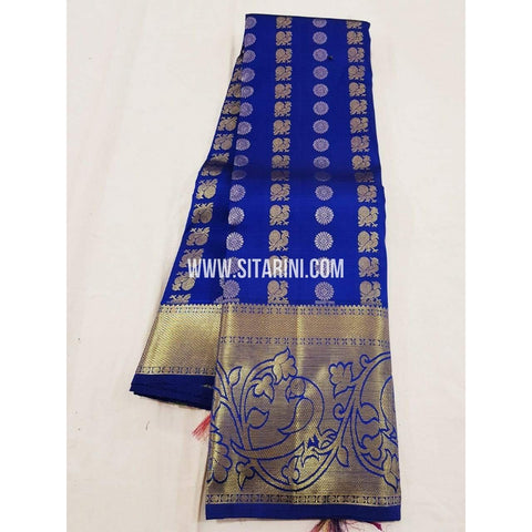 Kanchipuram Pattu Saree-Blue-Sitarini-SITKSS161
