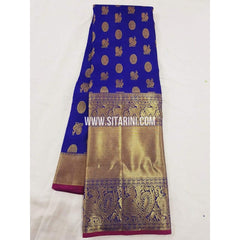 Kanchipuram Pattu Saree-Blue-Sitarini-SITKSS163