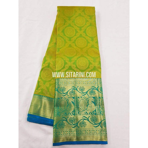Kanchipuram Pattu Saree-Parrotgreen-Sitarini-SITKSS181
