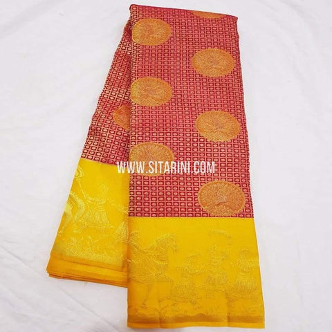 Kanchipuram Pattu Saree-Red-Sitarini-SITKSS232