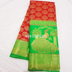 Kanchipuram Pattu Saree-Red-Sitarini-SITKSS233