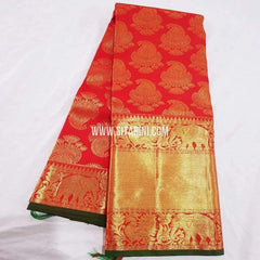 Kanchipuram Pattu Saree-Red-Sitarini-SITKSS234