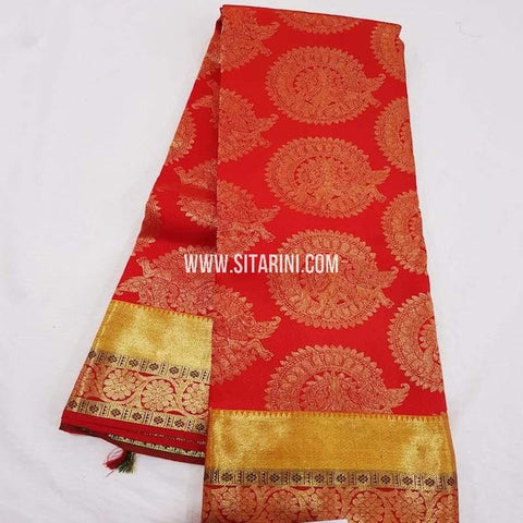 Kanchipuram Pattu Saree-Red-Sitarini-SITKSS237