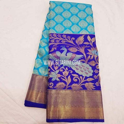 Kanchipuram Pattu Saree-Sky Blue-Sitarini-SITKSS222