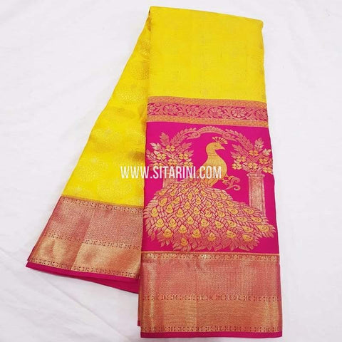 Kanchipuram Pattu Saree-Yellow-Sitarini-SITKSS228