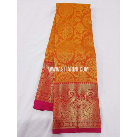 Kanchipuram Saree-Pattu-Mangoyellow-Sitarini-SITKSS125