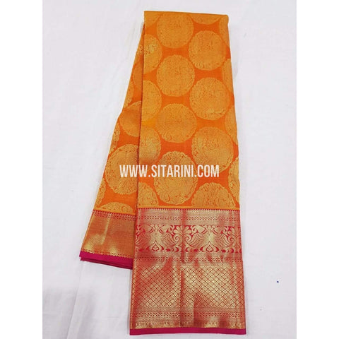 Kanchipuram Saree-Pattu-Mangoyellow-Sitarini-SITKSS129