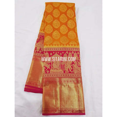 Kanchipuram Saree-Pattu-Mangoyellow-Sitarini-SITKSS142
