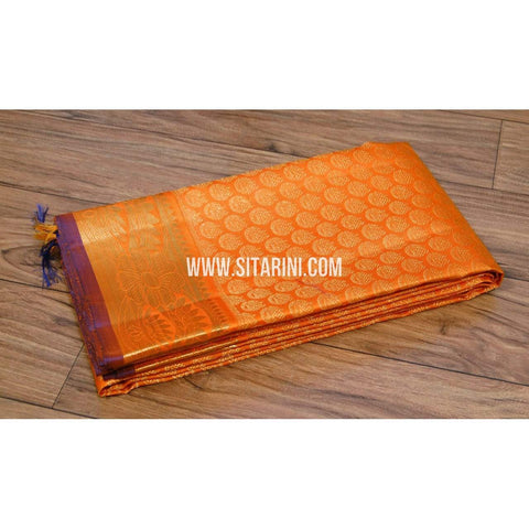 Kanchipuram Silk Dupatta-Orange-Sitarini-SITKSD110