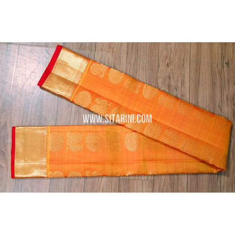 Kanchipuram Silk Dupatta-Orange-Sitarini-SITKSD114