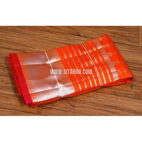 Kanchipuram Silk Dupatta-Orange-Sitarini-SITKSD116