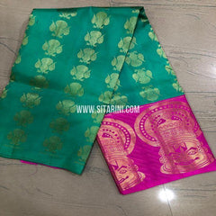 Kanchipuram Silk Lehenga-Sea Green-Sitarini-SITEDL158