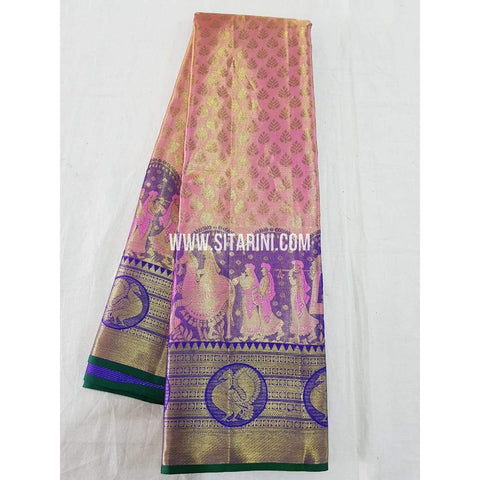 Kanchipuram Silk Saree-Babypink and Blue-Sitarini-KRSHKPTS111