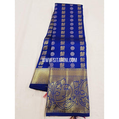 Kanchipuram Silk Saree-Blue-Sitarini-SITKSS188