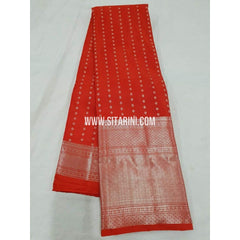 Kanchipuram Silk Saree-Red-Sitarini-SITKSS189