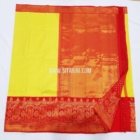 Kanchipuram Silk Saree-Yellow-Sitarini-SITKSS247