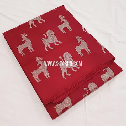 Kanchipuram Soft Silk Saree-Red-Sitarini-SITKSOSS175